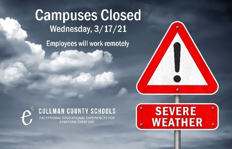 severe weather campuses closed March 17, 2021