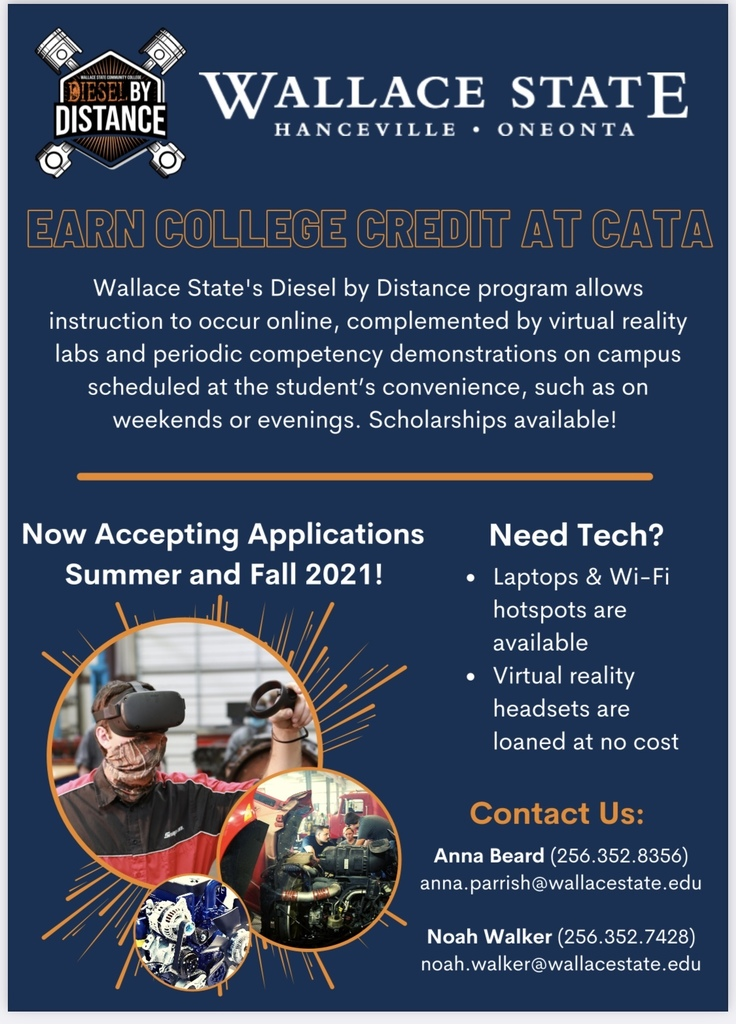 Earn College Credits here at CATA with the  Diesel by Distance Program!